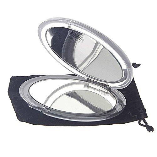 Klappspiegel, mit 10-fach Vergrößerung, Magnetverschluss oval Form 12x10cm, klares Acryl, mit Etui, Kosmetex Reise-Spiegel