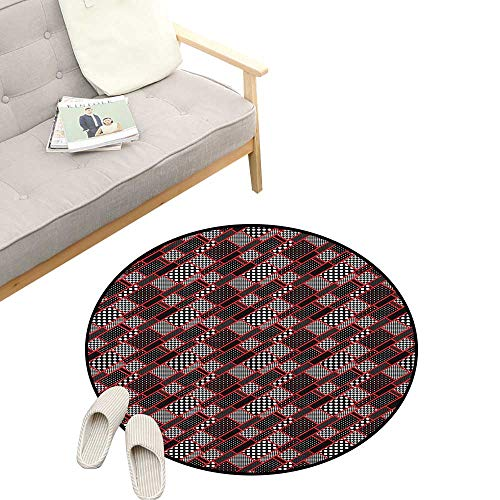 (Red and Black Round Area Rug ,Geometric Rectangle Frames Retro Patterns Polka Dots and Houndstooth, Bedroom Living Room Study Room Kids Playing 31