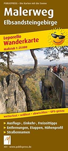 Malerweg Elbsandsteingebirge: Leporello Wanderkarte mit Ausflugszielen, Einkehr- & Freizeittipps, wetterfest, reissfest, abwischbar, GPS-genau. 1:25000 (Leporello Wanderkarte / LEP-WK)