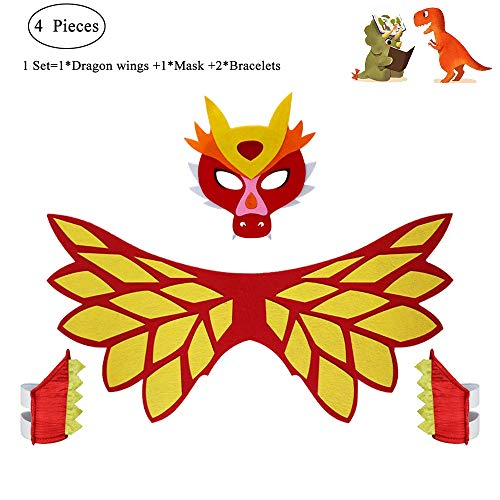 Kids Dragon Wings Costume with Red Dinosaur Mask and Bracelets Boys Girls Animal Dress Up Party Supplies -