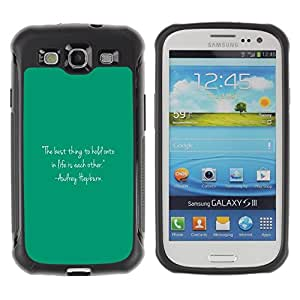 Suave TPU Caso Carcasa de Caucho Funda para Samsung Galaxy S3 I9300 / Quote Text Audrey Life Motivational / STRONG
