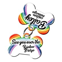 Pet Memorial Gifts- Dog Tag Set (comes with 2 tags) personalized custom pet tags to honor an old friend [Multiple Font Choices] [USA COMPANY] (Over the Rainbow Bridge 2)