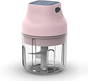Pinky Max Electric Garlic Chopper, Pink Cordless Mini Food Chopper Electric/Palm-sized Blender to Chop Fruits/Vegetables/Garlic/Onion for Salsa/Salad/Pesto/Coleslaw for Kitchen Gadgets (250ML)