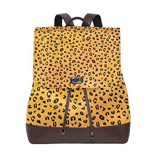 (KUWT Leopard Skin PU Leather Backpack Photo Custom Shoulder Bag School College Book Bag Rucksack Casual Daypacks Diaper Bag for Women and Girl)