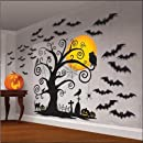 """Amscan Family Friendly Halloween Trick Or Treat Mega Value Party Scene Setters Wall Decorating Kit (32 Piece), 65"""" X 32 1/2"""", Black"""