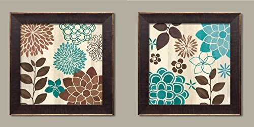 Gango Home Décor Beautiful Turquoise and Brown Flower and Leaf Print Set by Veronique Charron; Two 12x12in Gold Trim Brown Framed Prints, Ready to ()