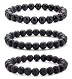Hamoery Men Women 8mm Natural Stone Lava Rock Diffuser Bracelet Elastic Yoga Agate Beads Bracelet Bangle-21014