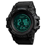 Compass Watch Army, Digital Outdoor Sports Watch for Men Women, Pedometer Altimeter Calories Barometer Temperature Waterproof (Black)