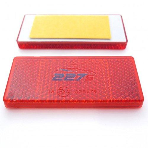 2x Red Rectangular Reflectors, Self-Adhesive, 69mm x 31.5mm- Gatepost Trailer 227s
