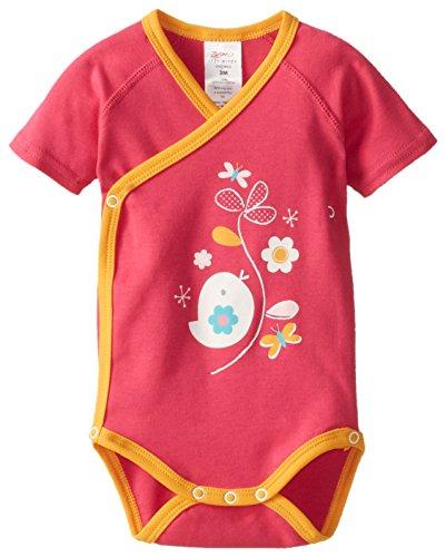 Zutano Baby-Girls Newborn Friendly Bird Screen Short Sleeve Wrap Body, Fuchcia, 6 Months
