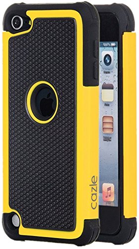 iPod Touch, Dual-layer Heavy Duty Matte Rugged Protective Cover Case for Appple iPod Touch 6th Gen 5th Gen by Cazle (Yellow) (Touch Ipod Yellow)