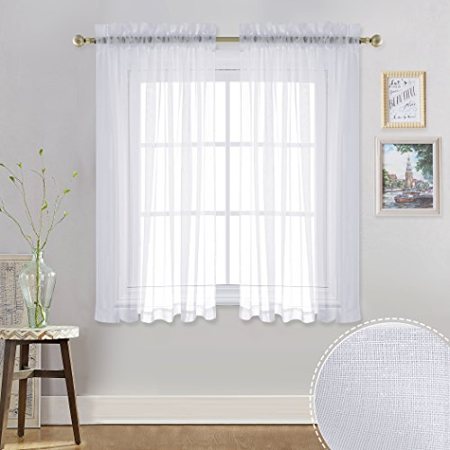 RYB HOME Linen Look White Sheer Curtains Luxurious Tulle Thi