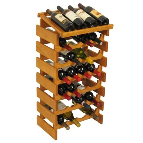 28-Bottles Wine Rack in Medium Oak Finish