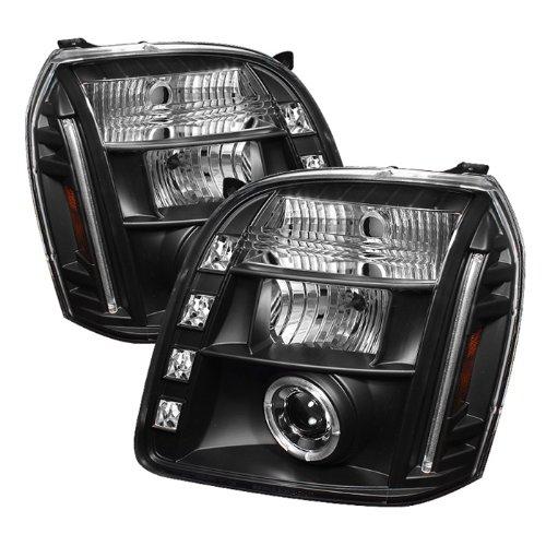 GMC Yukon / GMC Yukon Denali / GMC Yukon XL Projector Headlights LED Halo LED Black Housing With Clear Lens+Free Gift Universal DRL 8 White LED Lights