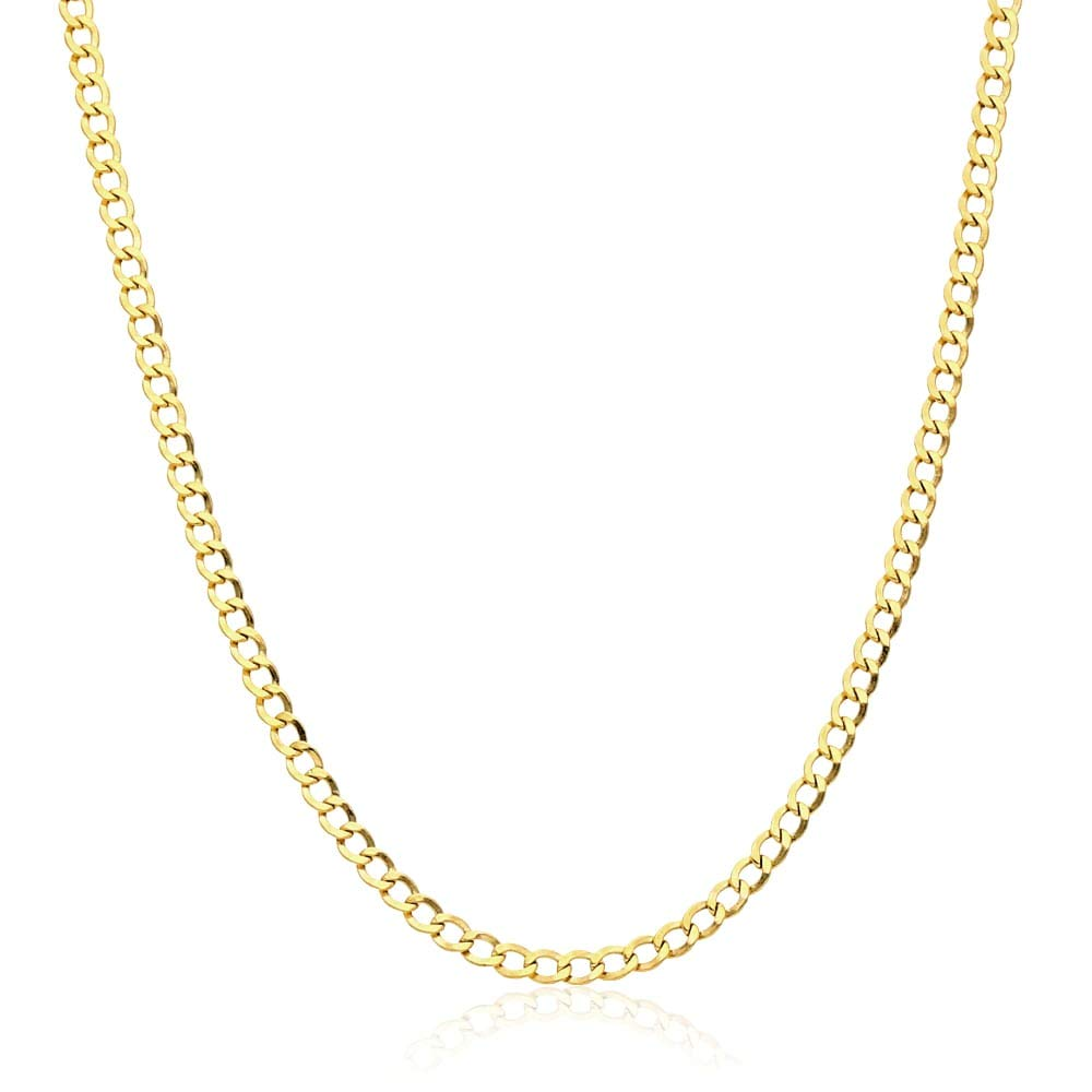 14k Yellow Gold 3.5mm High Polished Cuban Curb Hollow Link Chain Necklace 18''-26'', 20