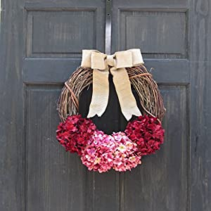 Rustic Hydrangea Grapevine Spring Summer Valentines Day Wreath for Front Door Decor; Burgundy Red and Rose Pink 3
