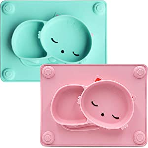 Baby Silicone Suction Plates,Toddler Placemat Divided Feeding Food Mat for Kids Fits Most Highchair Trays (Cyan & Pink)