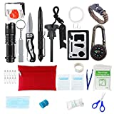Survival Gear Emergency Survival Kit Outdoor Tool with Survival Bracelet, Compass, Emergency Blanket, Whistle for Camping, Hiking, Climbing, Traveling