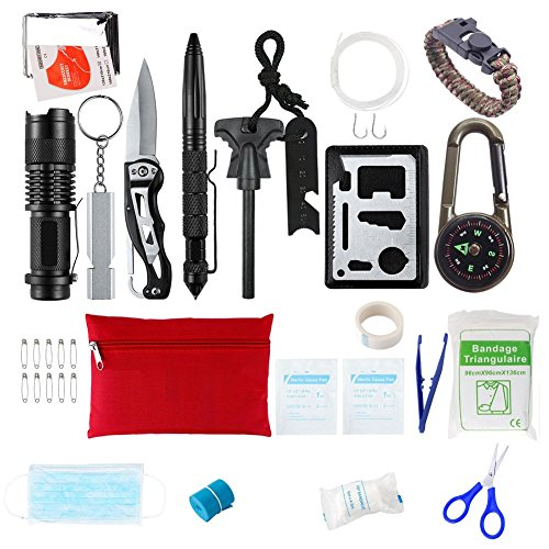 Survival Gear Emergency Survival Kit Outdoor Tool with Survival Bracelet, Compass, Emergency Blanket, Whistle for Camping, Hiking, Climbing, Traveling by Brillex