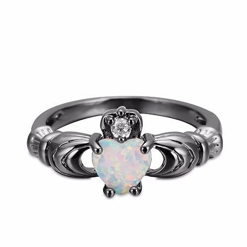 Yiyue Anillo Cómodo 925 Anillos con Elegantes Señoras Aman El Ring Ring 5 Código Negro