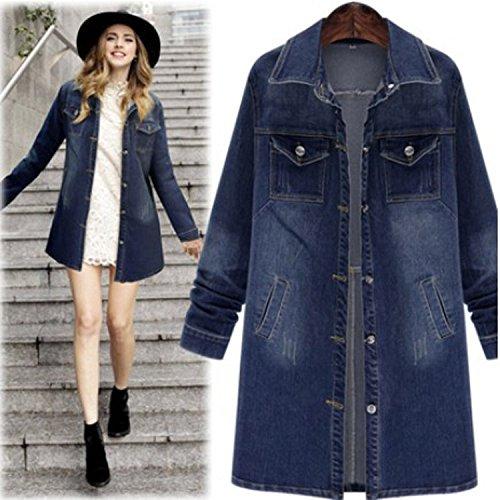 Coat Bleu En Jean Longues Bleu Veste Manteau Retro Blansdi Casual Jean Dcontracte Outwear Revers Col Femmes Manches ZWHgc7