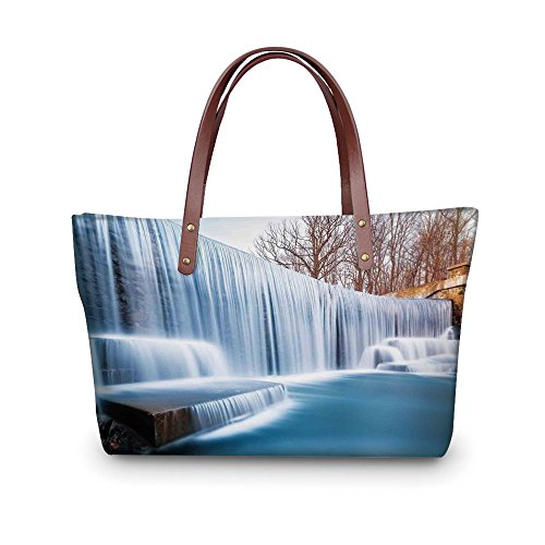 iPrint Design the fashion for you Waterproof Women Casual Handbag Tote Bags,Waterfall,Grand Victoria Falls Flowing over the River Novelty in the Universe Art Photo,Blue Brown. (Waterfall Clear Glass Grande)
