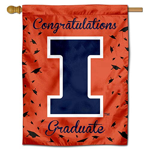 College Flags and Banners Co. Illinois Fighting Illini Graduation Gift Banner Flag