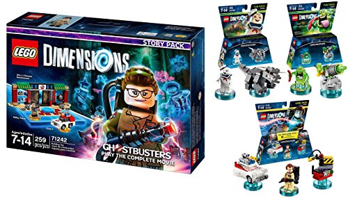 LEGO Dimensions Ghostbusters Themed Bundle (Set of 4) 71242 Story Pack, 71228 Level Pack Peter Venkman, 71233 Stay Puft Bibendum Chamallow, 71241 Slimer by C3 Computer Consultants