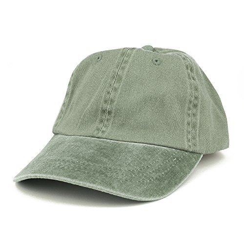 Armycrew Low Profile Plain Washed Pigment Dyed 100% Cotton Twill Dad Cap - Olive