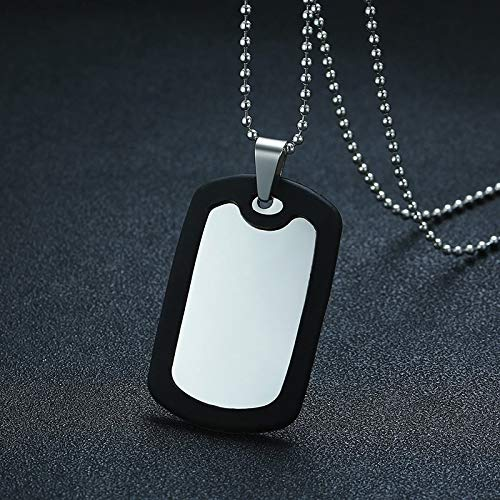 Unlimit-X Dog Necklace - Men's Engravable Stainless Steel and Black Rubber Dog Tag Pendant Necklace Military Army Male Jewelry with 20 or 24 inch