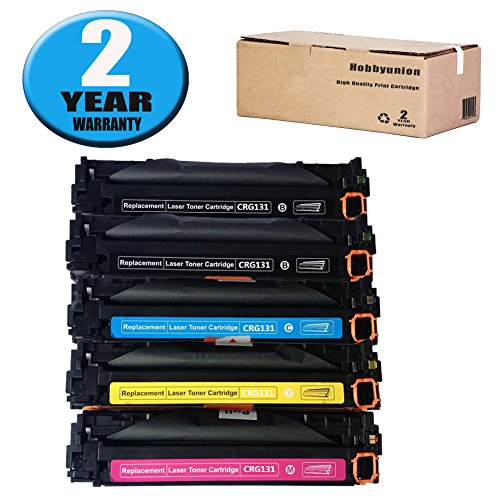 5k Pages Magenta Toner - CRG131 Toner Cartridge Full Color Set by Hobbyunion ( 5 Pack, 2*Black, Cyan, Yellow, Magenta) Compatible for Canon 131 ImageClass LBP7110CW MF624CW MF628CW MF8280CW