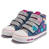 Weestep Toddler/Little Kid Girls Star Rainbow Mid Top Sneaker (11 M US Little Kid, Blue)