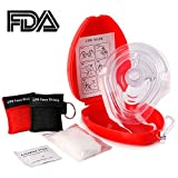 Five-of-Five Medical First Aid CPR Mask for Adult/Kids — Hard Case with Wrist Strap Gloves Wipes and 2 CPR Face Shield