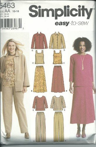 Simplicity Pattern 5463 Misses' Pants, Skirt, Tank Top, Jacket and Top Sizes 10-18