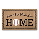 Welcome Mat Funny Doormats Anti-Slip Mat for Entrance Way Indoor/Kitchen Mats and Rugs Welcome Area Rugs Rubber Mat 18'(W) x 30'(L) (There's No Place Like Home Baseball Home Plate)