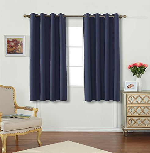 Miuco Room Darkening Textured Weaved Grommet Blackout Window Curtains for Living Room Curtains Panels Set of 2 52×63 Inch Navy Blue