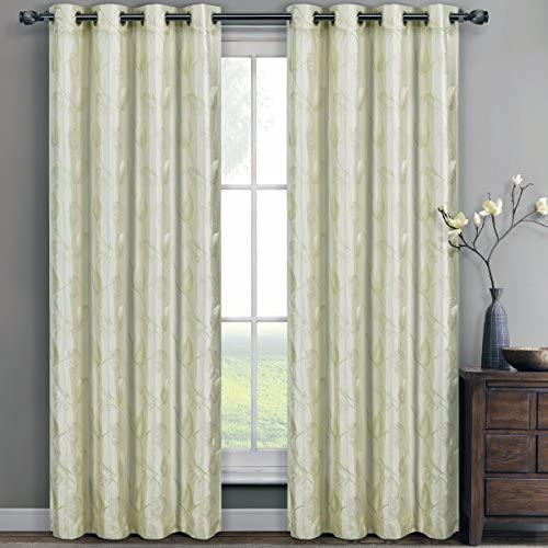 Designer Olivia Embroidered Lined Grommet Window Curtain Panels Set of Two Lined to Keep Out Additional Light and Increase Privacy – Ivory, 104 x 96 52 x 96 inches each