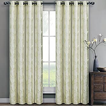 Amazon Com Olivia Ivory Grommet Embroidered Lined Window