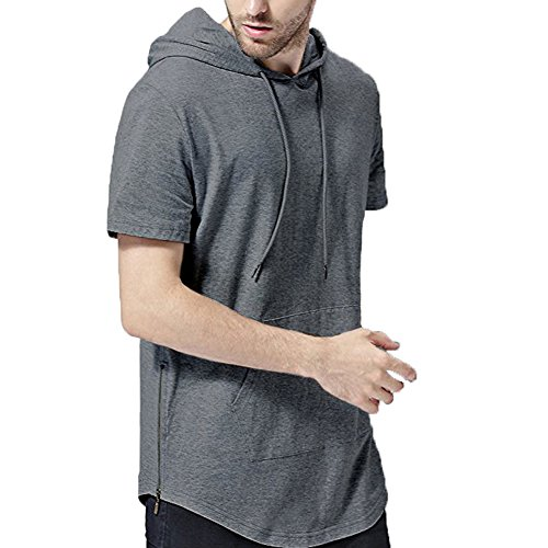 Men Short Sleeve Gym Side Zipper Training Hoodie Blank Pure Muscle Workout Fitness Jogger Cotton Singlet Sweatshirt-Gray-L