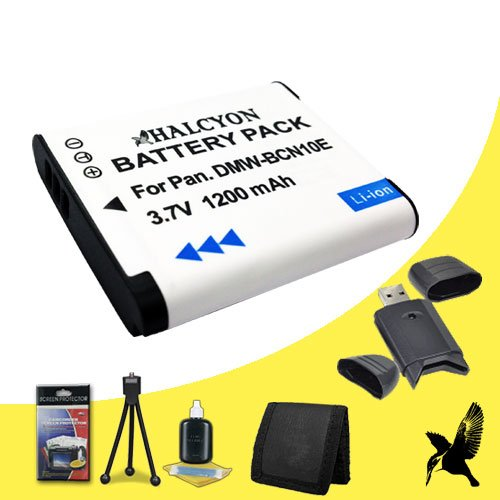 Halcyon 1200 mAH Lithium Ion Replacement DMW-BCN10 Battery + Memory Card Wallet + SDHC Card USB Reader + Deluxe Starter Kit for Panasonic Lumix DMC-LF1 Digital Camera and Panasonic DMW-BCN10 by Halcyon