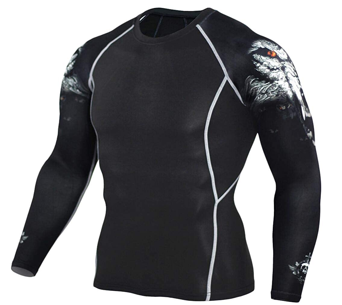 Mfasica Mens Stretch Long-Sleeve Workout Activewear Quick Dry Tee Blouse