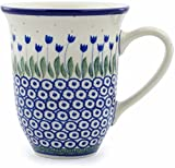 Polish Pottery 14 oz Mug made by Ceramika Artystyczna (Water Tulip Theme) + Certificate of Authenticity