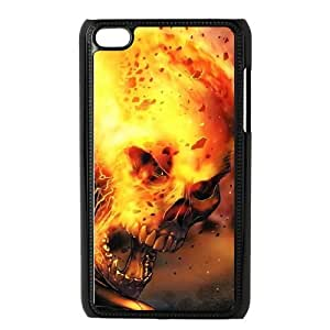 Ipod Touch 4 Case,Skull & Flame Hard Shell Case for Ipod Touch 4 Black Yearinspace072266