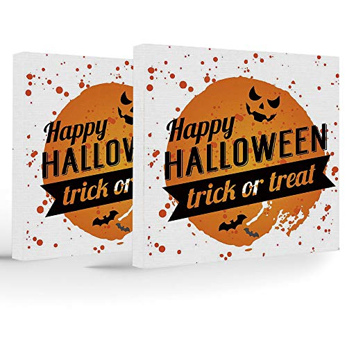 Canvas Print,Halloween,Home Decoration Stretched Gallery Canvas Wrap HP Print & Ready to Hang,Happy Halloween Trick or Treat Watercolor Stains Drops Pumpkin Face Bats