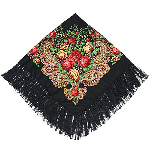 Kingree 100% Cotton Muffler, Warm Scarf with Tassel, Russian Style Large Bandana, Wrap Shawl Stole With Fringes (JF05-Black) (Shawl With Fringe)