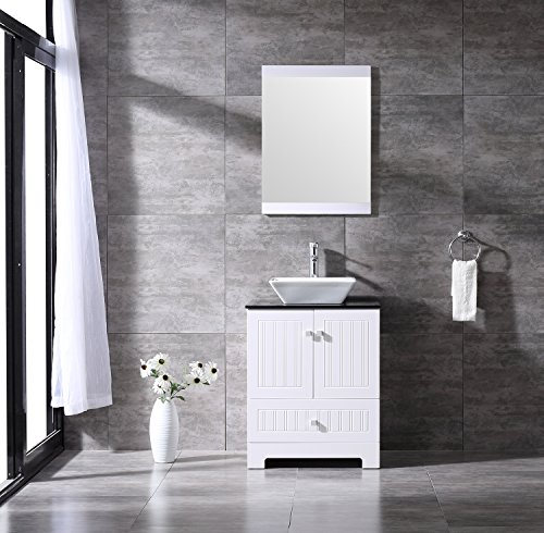 BATHJOY 24' White Bathroom Vanity Cabinet Top Square Ceramic Vessel Sink Faucet Drain Combo with Mirror Vanities Set