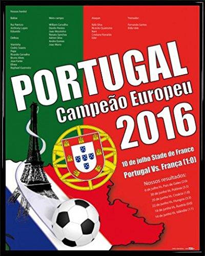ポスター: Footballポスターアート印刷 – Portugal Campeão Europeu、ヨーロッパチャンピオン2016 (20 x 16インチ) 97561R029 B01IQIP5UW  フレームプラスチック、ブラック