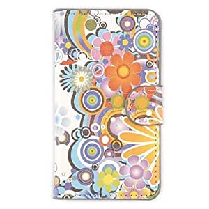 Colorful Flowers Wallet PU Leather with Stand Firm Case Cover for Sony Xperia E1 Dual