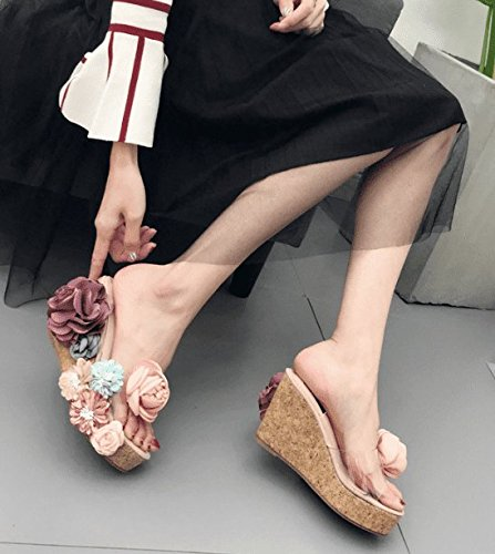 SCLOTHS Sommer Frauen Flip Flops Hang Blumen Asakuchi Wasserdicht Dick Unten High Heel Wasserdicht Asakuchi Aprikose 97e4d1