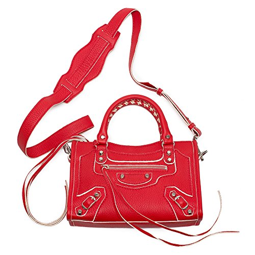 Balenciaga Motorcycle Rouge Fraise Red Leather Bag Handbag New